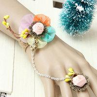 FREE SHIPPING Handmade Mori Girl 5 Colors Flower String Yarn Lace Adjustable Ring to Bracelet SET Lolita Bridal Fashion Jewellry