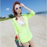 2012 thin outerwear sun protection clothing summer shayi neon green bikini outerwear