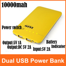 Portable 10000mAh Super Slim Dual USB Mobile Phone Power Bank External Battery For Galaxy S3 S4 iPhone iPad HTC(China (Mainland))