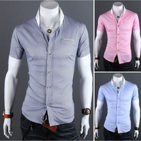 Free Shipping 2013 designer Summer new mens fashion plaid brand short sleeves shirts casual shirt men size:M-XXL