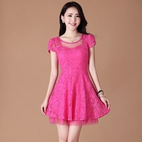 2013 gentlewomen slim elegant one-piece dress lace sexy embroidery flower skirt