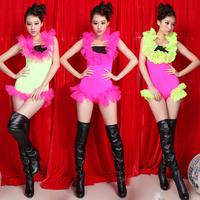 2014 new Fashion women's dress ds costume jazz dance dj female singer twirled clothing neon gauze one piece free shipping