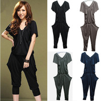 Free Shipping Fashion Solid Color Harem Pants Jumpsuit Overall Sexy V-Neck Butterfly Sleeves With Pockets Lady's Jumpsuits 3503