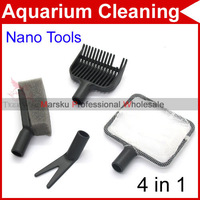 4 in1 Complete Aquarium Clean Set Fish Net Gravel Rake Plant Fork Sponge Cleaning Tools set 3814