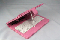 "A 7"" Tablet PC MID PAD usb Keyboard Smart Cover Leather Case Bag with Stylus Pen white  red black pink"