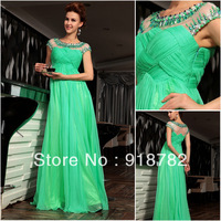 2013 Custom Made Chiffon Green Prom Dress Short Sleeves Long Formal Party Dress Beads and Sequins Evening Dresses/Gowns