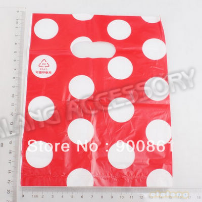 180pcs/lot Free Shipping New White dots Rectangle Red Bags Plastic Gift Cute Dot Carrier Packing Bags 20x15.8cm 120414(China (Mainland))