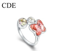 CDE Crystal Jewelry Women Ring Charms Ruby Flower Toe Ring Made With Swarovski Element R0125
