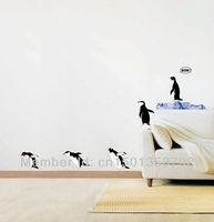 Free Shipping 33*60CM Cute Little  Penguin's Family  Jumping Home Decor Removable Wall Natural Decor Vinyl Sticker Art Kid Mural