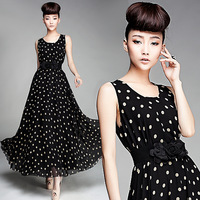 Free Shipping 8091 2013 spring and summer ultra long tank dress black-matrix white double flower belt exquisite chiffon skirt