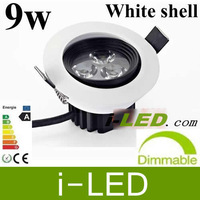 10pcs /lot Really 9W 650 LM Dimmable Led Ceiling Down Lights white shell 120 Angle Warm White110V 230V Led Bulb Lamp