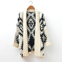 2013 casual thick loose brief geometric patterns graphic all-match sweater outerwear 495