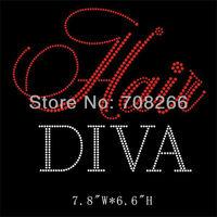 Free shipping 50pcs/lot Hair Diva hot fix rhinestone transfer custom bling motif for t shirt
