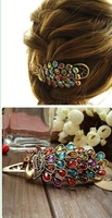 2013 New Fashion Colorful Vintage Retro Antique Crystal Peacock Hairpin Hair Jewelry