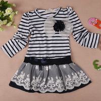 Free shipping 2013 girls striped dresses girl's stripe princess navyblue brown white flower top clothes tops clothing Corsage