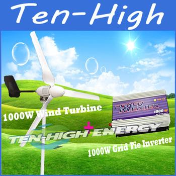Fedex freeshipping! 1000W Wind Grid Tie Generating System(1000W 48V wind turbine+1kW Wind Grid Tie Inverter)