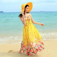 Beach dress bohemia plus size spaghetti strap full dress mopping the floor one-piece dress summer