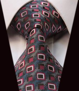 TC3027R Gray Check 100% Silk New Jacquard Woven Classic Man's Tie Necktie