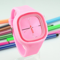 Fashion candy color personality quartz watch lovers table jelly table resin silica gel watches watch
