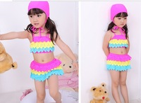 2013 New girl's rainbow Bikinis Children's fashion beach wears with caps lovely and beauty Bikinis kid's beach wears