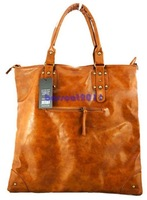 2014  New fashion Women's Lady's Korean style Hobo handbag Brown shoulder PU leather bag