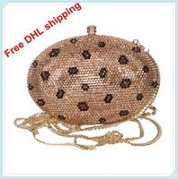 2013 hot fashion leopard grain luxury crystal pretty design clutch evening bag for woman free shipping