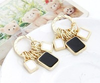 Min.order is $10 (mix order) Black and white fashion femininity earrings temperament simple multi-turn TB-0115