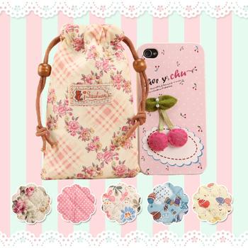 Fabric cell phone pocket bear flower mobile phone case bag drawstring mobile phone bag