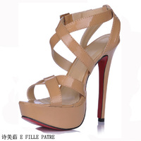 Free shipping 2014 E FILLE PATRE is   fashion japanned leather platform high heels sandals 3463SL-a2 ,Wear comfortable