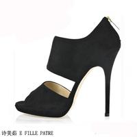 HOT! 2014 new FERRAGNI China famous brand Fashion plus size velvet high-heeled platform back zipper open toe sandals 151-c