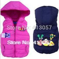 Boys girls down vest cartoon waistcoats children vest pink 4 color black 4pcs/lot free shipping F682