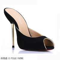 China's  ,fashion Spring black high-heeled slippers sexy red sole party shoes 3845-f1,High quality,Design perfect wedding,kvoll