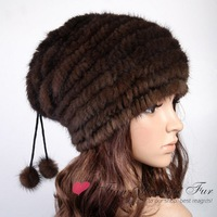 Free shipping 2013 New Genuine Knitted Mink Fur Hat Factory Sale Natural Colour Handmade Warm hats Winter