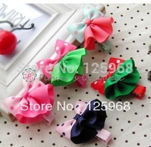 Free Shipping!2014 New 10pcs/lot baby ribbon dots bows&Skirt with clip, hairclips,Girls' hair accessories
