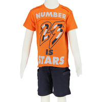 Boy short t shirt shorts cotton top 2014 summer 2pc set boy orange grey size 6-14 wholesale 2481K3 Free Shipping