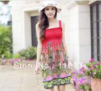 free shipping women ladies sexy dress for spring and summer autumn promotion Women's new Bohemia Milk silk Princess Beach skirt
