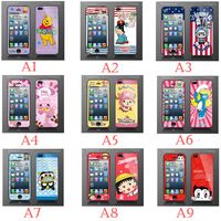 50PCS/LOT Comic Books Cartoon Style For iPhone 5 5G Film Case Front+Back Screen Protector for apple 5