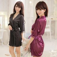 Women's lounge silk sexy sleepwear transparent robe plus size bathrobe lace nightgown set temptation female  FREE SHIPPING