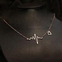 Fashion wave classic fashion unique rose gold necklace titanium color gold accessories fashion necklace female