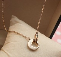Titanium accessories card love 14k rose gold color gold necklace chain female short personalized heart hasp