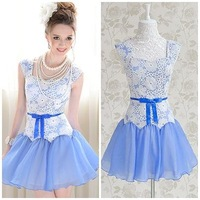 2013 white lace sexy blue chiffon evening ruffles patchwork club knee-length slim cute ladies women's dress