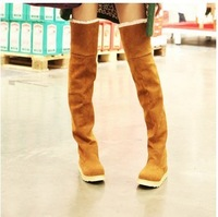 FREE SHIPPING 2013  New Women's Suede Flat Boots Winter Thigh High Boots /Over The Knee Boots Shoes 4 color