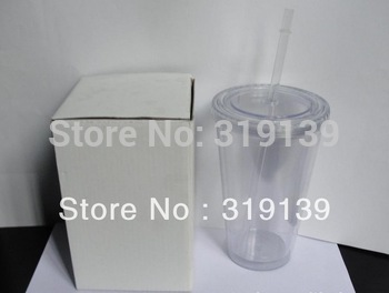 wholesale 2013 hot sale BPA-Free Double Wall Acrylic Tumbler with Lid and Straw,16oz straw tumbler,plastic thermal mug