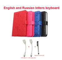 "Free Shipping Leather Case USB English and Russian letters Keyboard for 7"" Tablet PC + stylish capacitive pen + Two OTG cables"