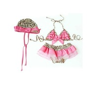 Free Shipping high quality  Light Pink Bow Leopard Girl Bikini Kid Swimwear 2piecses with hat swimskirt Swimsuit girls gift