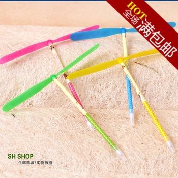 Hot wholesale Shining bamboo dragonfly flying apsaras nostalgic classic toy ballpoint pen ball pen novelty student gift
