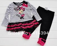 Girls summer suit,children's set 5pcs/lot girls princess dress 100%cotton fashion dress hello kitty tutu skirt+pants suits