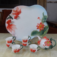Coffee tea set chinese Porcelain enamel birthday gift kung fu tea set  Tea pot novelty items
