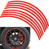 17 Strips 3M High quality Reflective Car Motorcycle Rim Stripe Wheel Decal Tape Stickers e