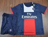 2013/14 Paris St Germain Kids Home Blue Soccer Football Jerseys And Shorts kits , PSG Children Soccer Uniforms Size:18-28